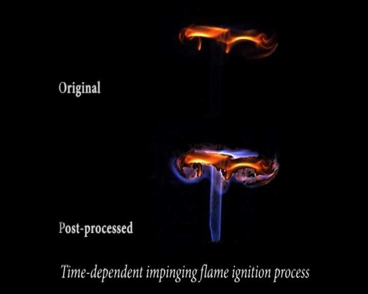 Through intelligent processing of flame images, the weak chemiluminescence can be visualised under direct high-speed imaging. Meanwhile, the flame infrared emission features have been captured for the first time. As a result, multiple flame light emission from visible to infrared spectrum can be visualised simultaneously in the flame ignition process.