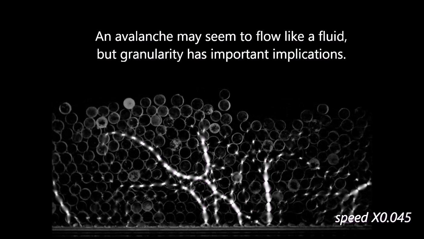 This is a video of a novel experiment where photoelastic discs are rolled down a narrow, inclined chute. Here the forces exerted when discs interact can be measured from the intensities of the light they transmit with the aim of investigating how stresses are distributed within avalanches.