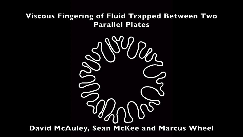 The video submission shows the fingering phenomenon that arises when two parallel plates are normally separated. The video also shows the experimental rig that was created to study the fingering and the effective viscosity of the fluids. The footage has not been enhanced.